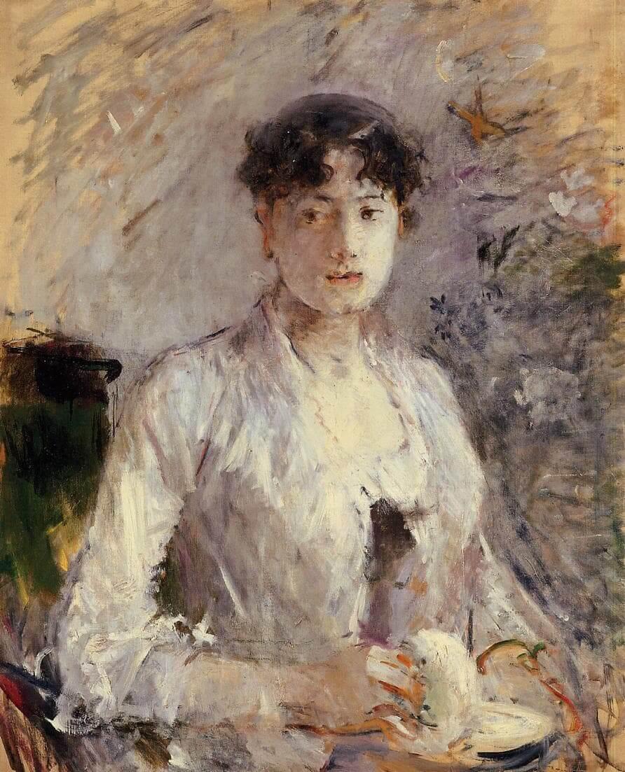 """Mujer joven en malva"" de Berthe Morisot"